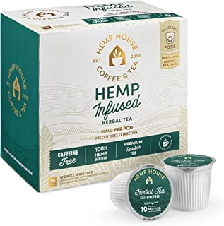 Hemp House Hemp Infused Herbal Tea, 16ct. Gourmet Fair Trade Rooibos Tea Packed in Recyclable Single Serve Pods, K-cup compatible including 2.0