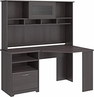 Bush Furniture Cabot Corner Desk with Hutch in Heather Gray