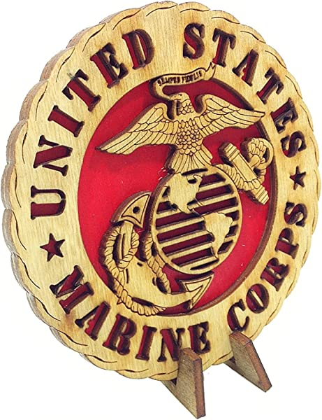 Armed Forces Marines Military Decorative Laser Three Dimensional Wooden Desk Plaque