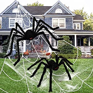 LOVKIZ 200'' Spider Web Halloween Decorations with 2 PCS Giant Spider Decorations (5FT + 2.5FT), Halloween Hairy Spiders Scary Fake Props for Indoor Outdoor Yard Lawn Decoration Home Holiday Halloween Decor