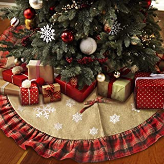 Yidarton Christmas Tree Skirt 48 inches Xmas Linen Burlap Tree Skirt White Snowflake Print Plaid Ruffle Christmas Holiday Decorations Indoor Outdoor (Beige&Red)
