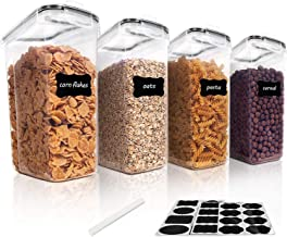 4L Large Food Storage Containers Cereal Containers Set of 4, Geecol Airtight Plastic BPA Free Kitchen Pantry Flour Storag...