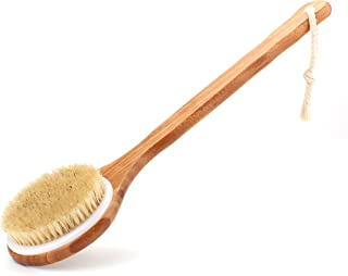Shower Brush with Natural Bristle - Long Bamboo Handle Bath Body Brush for Wet or Dry Brushing - Improves Blood Circulatio...