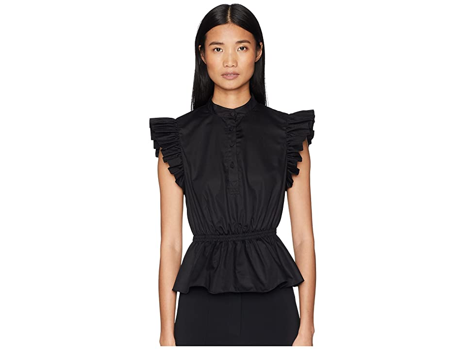 Image of Adam Lippes Cotton Poplin Ruffle Sleeve Top w/ Placket (Black) Women's Clothing