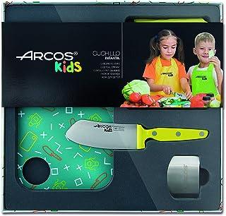 Arcos Kids - Juego de Cocina para niños (Cuchillo infantil + Delantal + Tabla de corte + Protector de dedos) - Color Amarillo