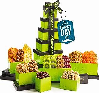Fathers Day Dried Fruit & Nut Gift Basket, Green Tower + Ribbon (12 Piece Assortment) - Prime Arrangement Platter, Birthda...