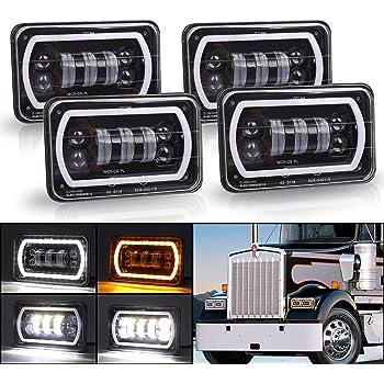SEUYA 4x6 Headlights High Low Beam with White Halo DRL Amber Turn Signal Lights for Replacement H4651 H4652 H4656 H6545 H4666 Kenworth Peterbilt Freightinger Chevrolet Cutlass Trucks 4PCS