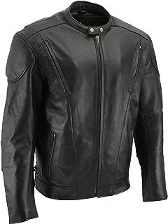 M-BOSS MOTORCYCLE APPAREL-BOS11510-BLACK-Men's cowhide leather motorcycle jacket.-BLACK-3X-LARGE