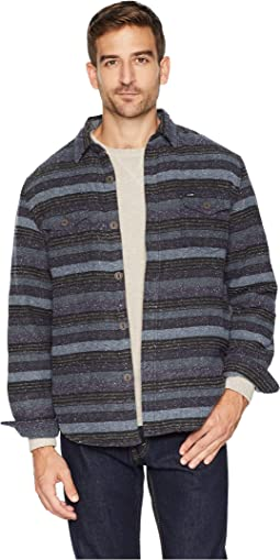 Baja Textured Stripe Shirt Jacket with Ultra Soft Sherpa Lining