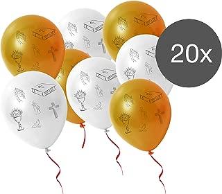 8 Luftballons Kommunion Helium Ballon Partydeko Taufe Heliumballons Kerze Kreuz