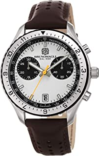 Bruno Magli Men's Marco 1081 Swiss Quartz White Dial Italian Leather Strap Watch