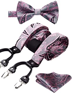 Floral 6 Clips Suspenders & Pre Tie Bow Tie and Pocket Square Set Y Shape Adjustable Braces