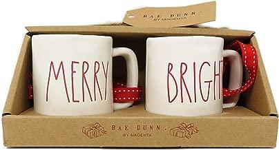 Rae Dunn by Magenta Merry Bright Ceramic LL Red Letter Mini Mug Christmas Tree Ornaments