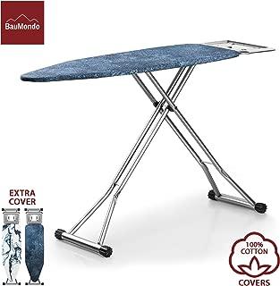 BAUMONDO Ironing Board, Adjustable Height, 4-Leg, 47.2''x15'' Board with Ironing Rest