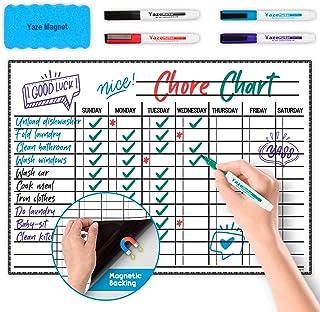"Whiteboard Chore Chart - Magnetic Dry Erase Chore Board for Multiple Kids - Chores White Board for Fridge - 17X12"" - 5 Mar..."