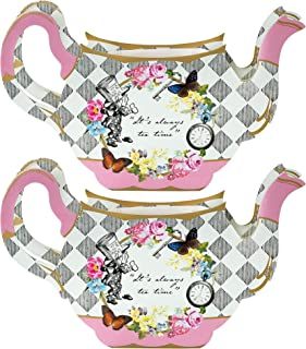 Talking Tables Truly Alice Teapot Vase Table Decoration for a Tea Party, Multicolor (2 Pack)