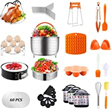 Artcome 91 PCS Accessories Set for Pressure Cooker 5,6,8 Qt - 60 Pcs Parchment Papers, 2 Steamer Baskets, Springform Pan, ...