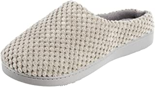 isotoner Women's Textured Microterry Low Back Slippers with Memory Foam, Stormy Grey, 8.5-9