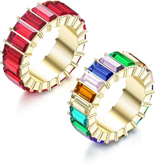ORAZIO 2 PCS Rainbow Crystal Cubic Zircon Band Ring for Women Multi Color CZ Engagement Ring Set Jewelry Gift