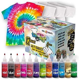 Tie Dye Kit - Tie Dye Kits for Kids - Includes 4 White T-Shirt - 12 Large Colors Tie Dye - Tie Dye Kits for Adults - Tie D...