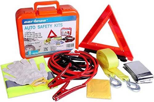 popular CARTMAN Roadside Assistance Auto Emergency Kit Set, Jump Cables 6Ga + Tow Belt 4500Lbs, in Carry lowest popular Box online sale