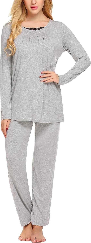 Etuoji Women Long Sleeve Pleated Front Shirt Long Pant Sleepwear Pajama Set