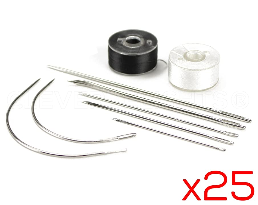 25 Sets - CleverDelights 9 Piece Needle and Thread Kit - Sewing Repair Camping Emergency Survival