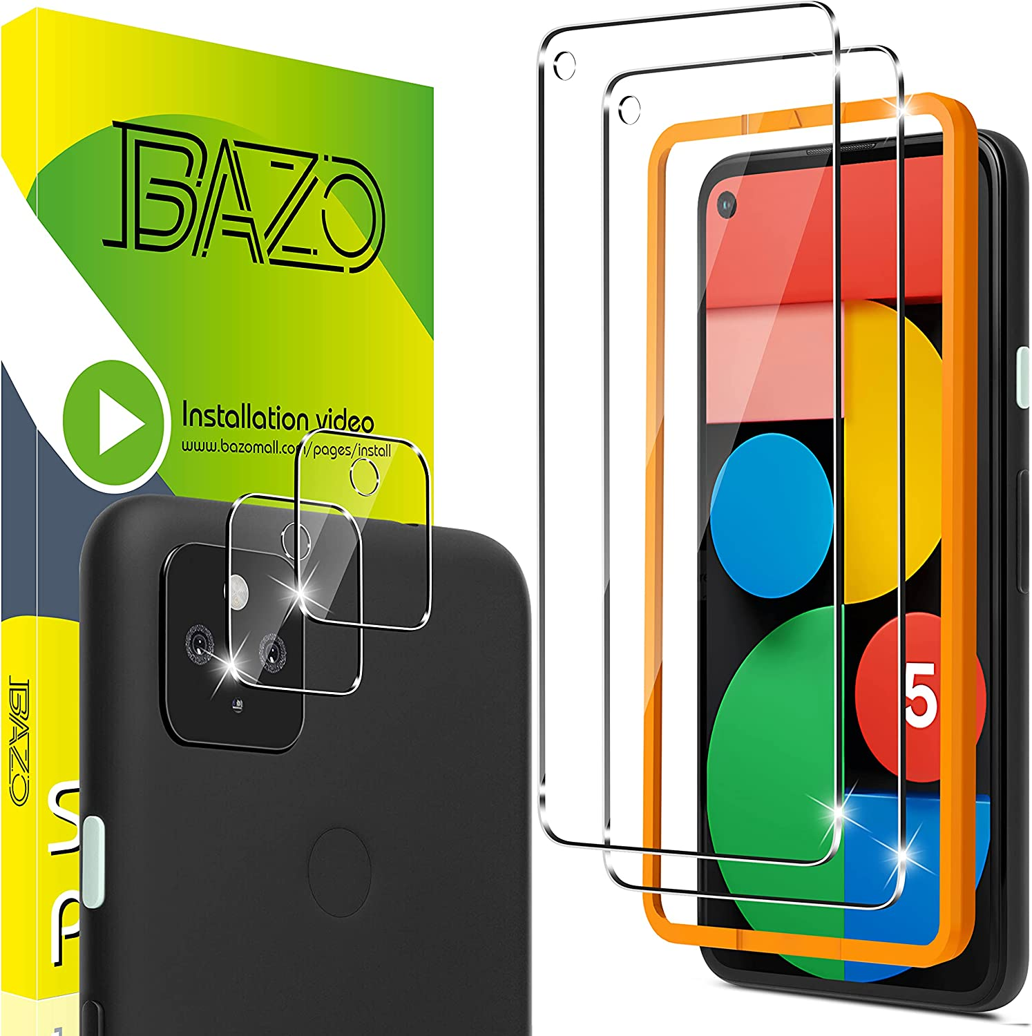 BAZO 2 Pack Screen Protector for Google Pixel 5 (6.0 inch) +2 Pack Camera Lens Protector with Easy Installation Frame - HD Clear -9H Hardness -Tempered Glass Film