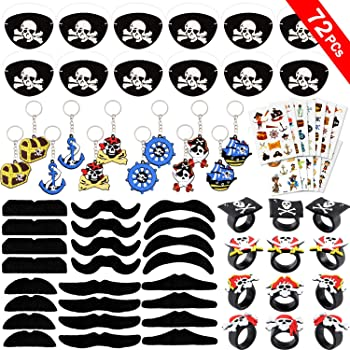 Gold Coins,Diamond Rings, Rhinestone Rings,Tattoos, Mustaches,Pirate Telescope,Eye Patches,Pirate maps,Gold Weapons,Compass Amersumer 101 piece Pirate Party Supplies and Pirate Favor Toy Bundle