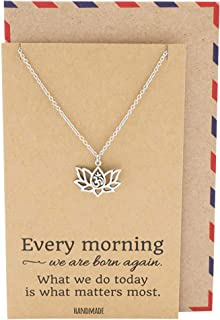 Quan Jewelry Yoga Lotus Flower Necklace with Om Symbol, Happy Birthday Gifts Ideas for Mom, Daughter, Women with Inspirational Quote on Gift Card