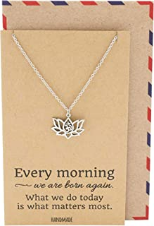 Yoga Lotus Flower Necklace with Om Symbol, Happy Birthday Gifts Ideas for Mom, Daughter, Women with Inspirational Quote on Gift Card