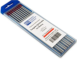 """TIG Welding Tungsten Electrodes 2% Thoriated 1/8"""" x 7"""" (Red, WT20) 10-Pack"""