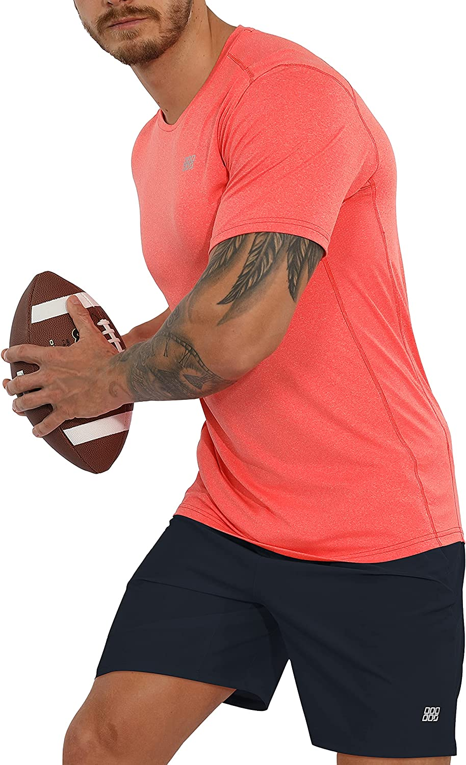 ODODOS Men's Quick Dry Fitted Athletic T-Shirts UPF 50+ Sun Protection SPF Crew Neck Running Short Sleeve Tops