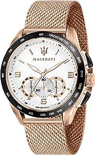 MASERATI Men's TRAGUARDO Stainless Steel Quartz Stainless-Steel Strap, Rose Gold, 22 Casual Watch (Model: R8873612011)
