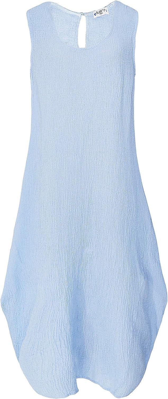 blueeberry Italia Women's Linen Sleeveless Crepe Dress Sky
