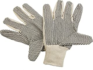 [12 Pairs, Large] Cotton Canvas Knit Protection Work Gloves with Black PVC Dots for Hand Grip, Painter Mechanic Gardening Glove for Men Women, Beige 24 Count Bulk