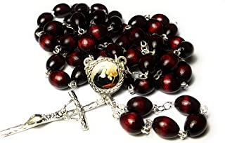 3rd Class relic Rosary Saint Rita of Cascia Patron of Lost Impossible Causes, Sickness, Wounds Marital Problems, Abuse, Mothers Santa Rita de Casia Causas imposibles, problemas maritales (Cherry)