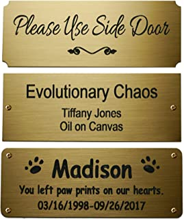 """Size: 4"""" W x 1-1/2""""H, Personalized, Custom Engraved, Brushed Gold Solid Brass Plate Picture Frame Name Label Art Tag for Frames, with Adhesive Backing or Screws - Indoor use only"""