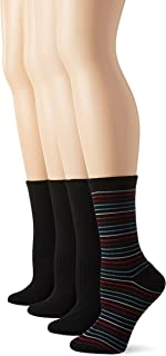 PEDS Women's Solids and Stripes Dress Crew Socks 4 Pairs, Assorted, Shoe Size/5-10
