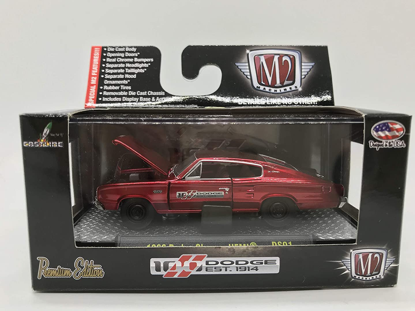 M2 Machines Dodge 100 Years Special Edition 1966 Dodge Charger HEMI 1:64 Scale DS01 14-23 Neon Red Details Like NO Other! Over 42 Parts 1 of 5000