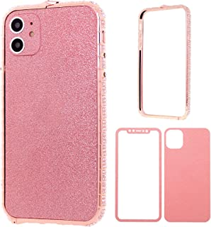 iPhone 11 Bumper Case for Women, DMaos Sparkly Diamond Metal Bumper with Front and Back Glitter Sticker, Premium for iPhon...
