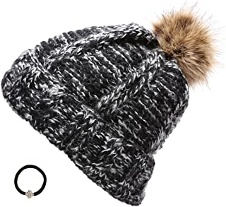 Epoch Women's Winter Mixed Two Tone Heavy Knitted Pom Pom Beanie Hat With Hair Tie.