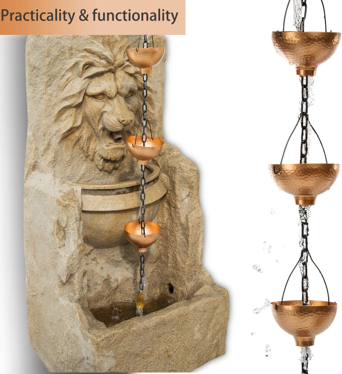 8-1//2 FT Bright Copper Lattice Rain Chain with Bowl-Shaped Cups for Rain Catcher System to Divert Rainwater Gofunfun Rain Chain of Gutters