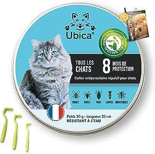 Ubica® Collier Anti Puces pour Chat Naturel Anti Tiques pour Chats – Répulsif – Formule à Base d'Huiles Essentielles de Ci...