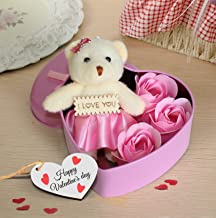 TIED RIBBONS Valentines Day Gift for Girlfriend Boyfriend Wife Husband Him Her - Valentines Special ( Heart Shaped Box with Teddy and Roses and Wooden Tag )