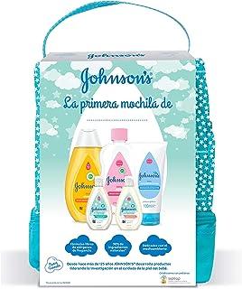 Johnsons Baby Pack Bebe Mi Primera Mochila Champu Clásico 300 ml Aceite Corporal 300 ml Crema Protectora de Pañal 100 ...
