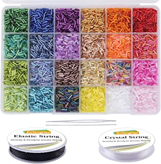 EuTengHao 9600pcs Tube Beads Kit Glass Bugle Seed Beads Small Craft Beads for DIY Bracelet Necklaces Crafting Jewelry Maki...