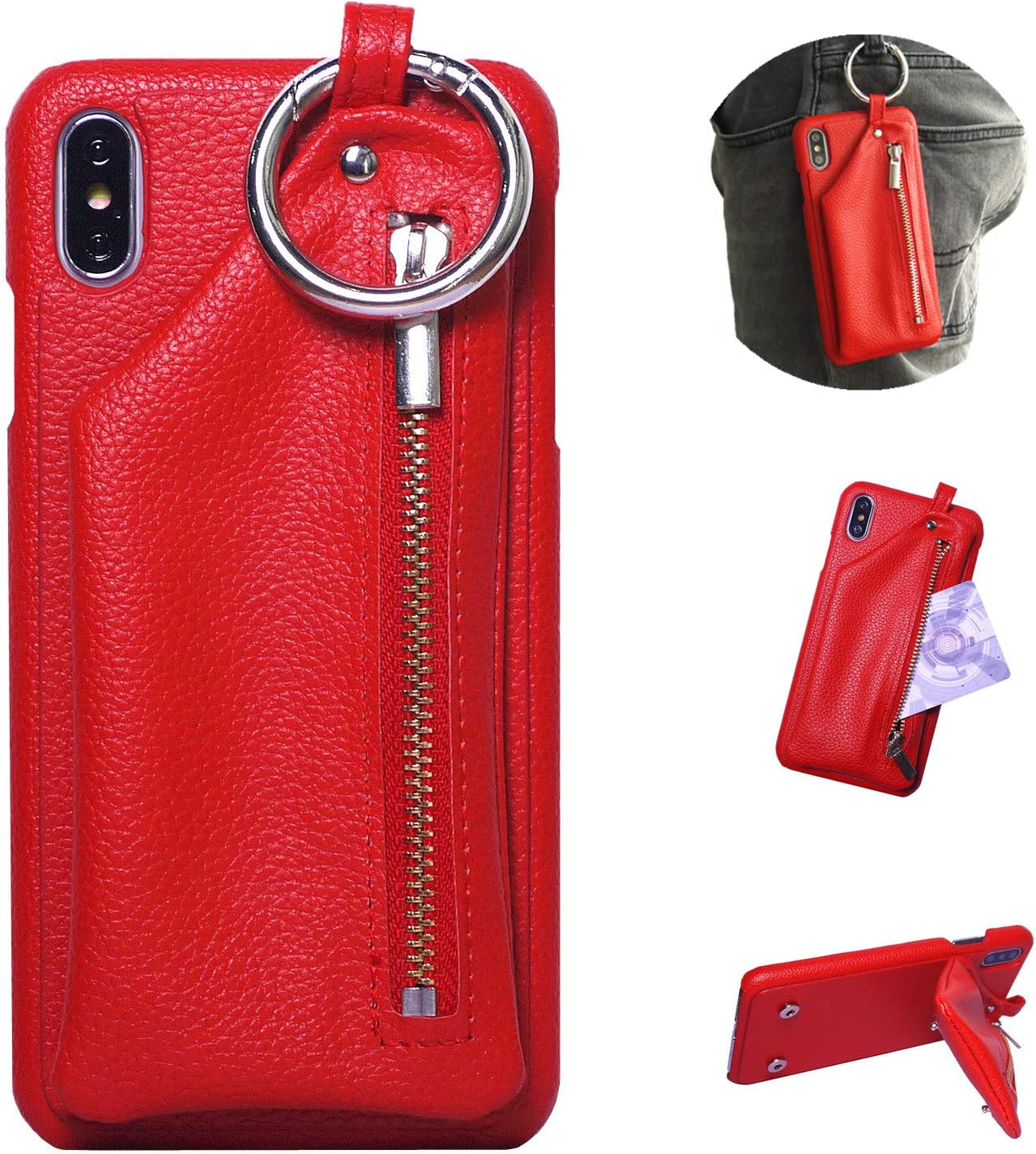 iPhone 6s Plus Case, iPhone 6 Plus Case, DMaos Leather Case with Zipper Pocket for AirPods Earphone Cash Card Holder, Stylish Fashion Buckle, Premium for iPhone 5.5 inch - Red