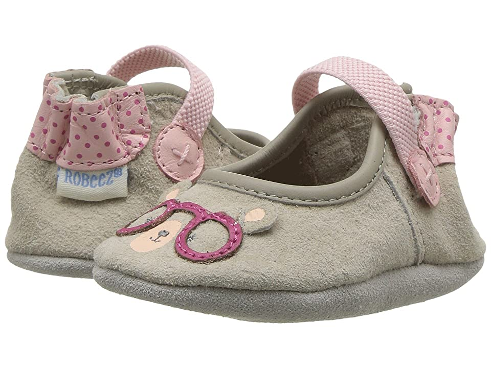 Robeez Miss Bear Soft Sole (Infant/Toddler) (Light Grey) Girl