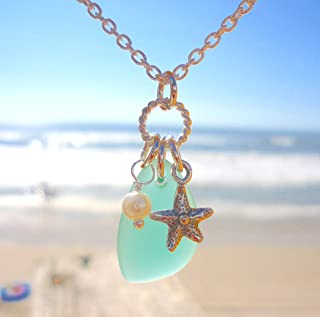 Gold Necklace with Dark Blue Sea Glass Beads Ready to Wear to the Beach The Sun Really Shines on this beautiful Blue Glass!